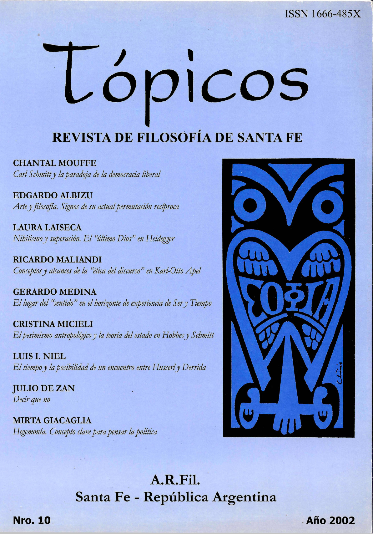 Imagen de tapa de Revista Tópicos Nº 10.