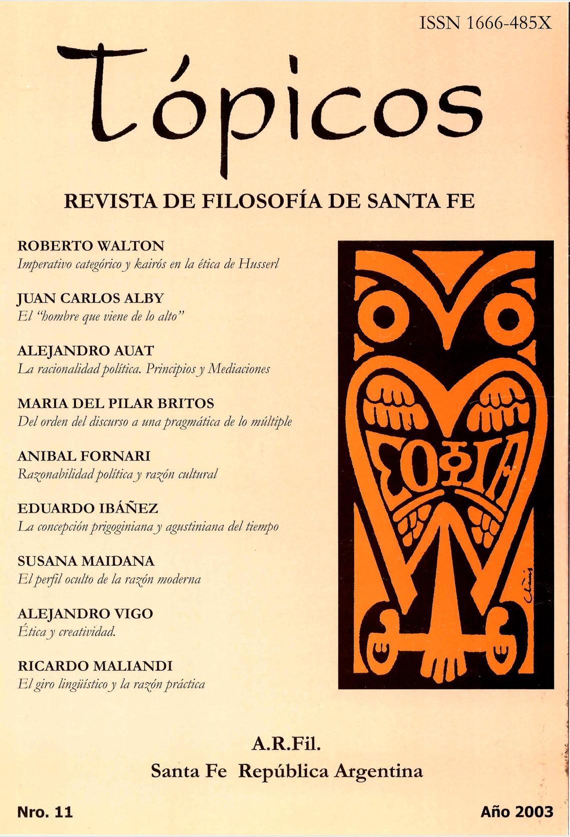Imagen de tapa de Revista Tópicos Nº 11.