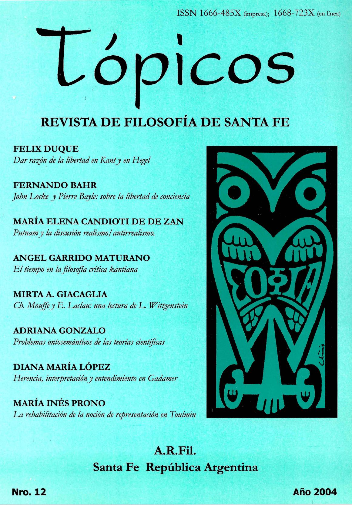 Imagen de tapa de Revista Tópicos Nº 12.