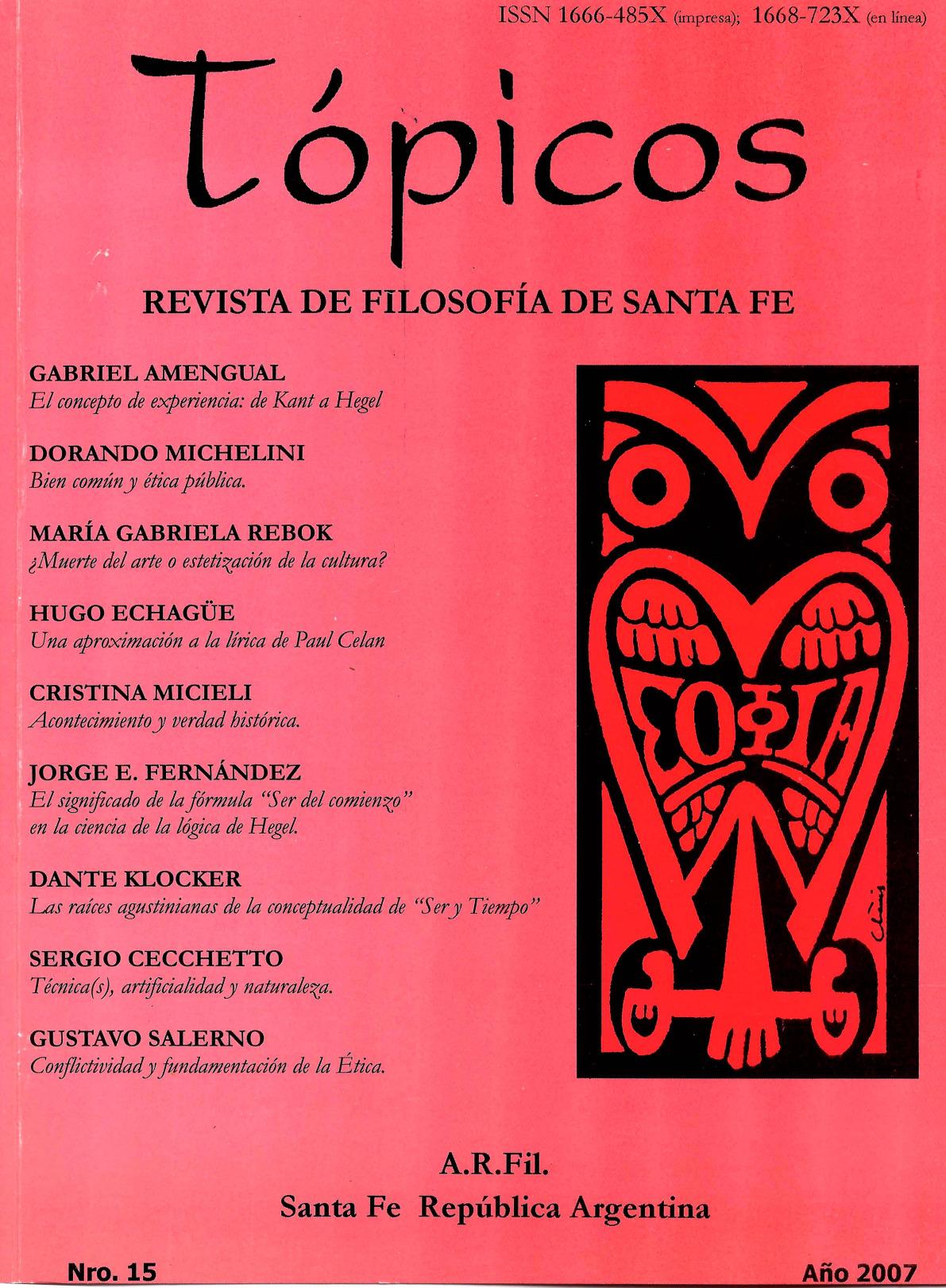 Imagen de tapa de Revista Tópicos Nº 15.