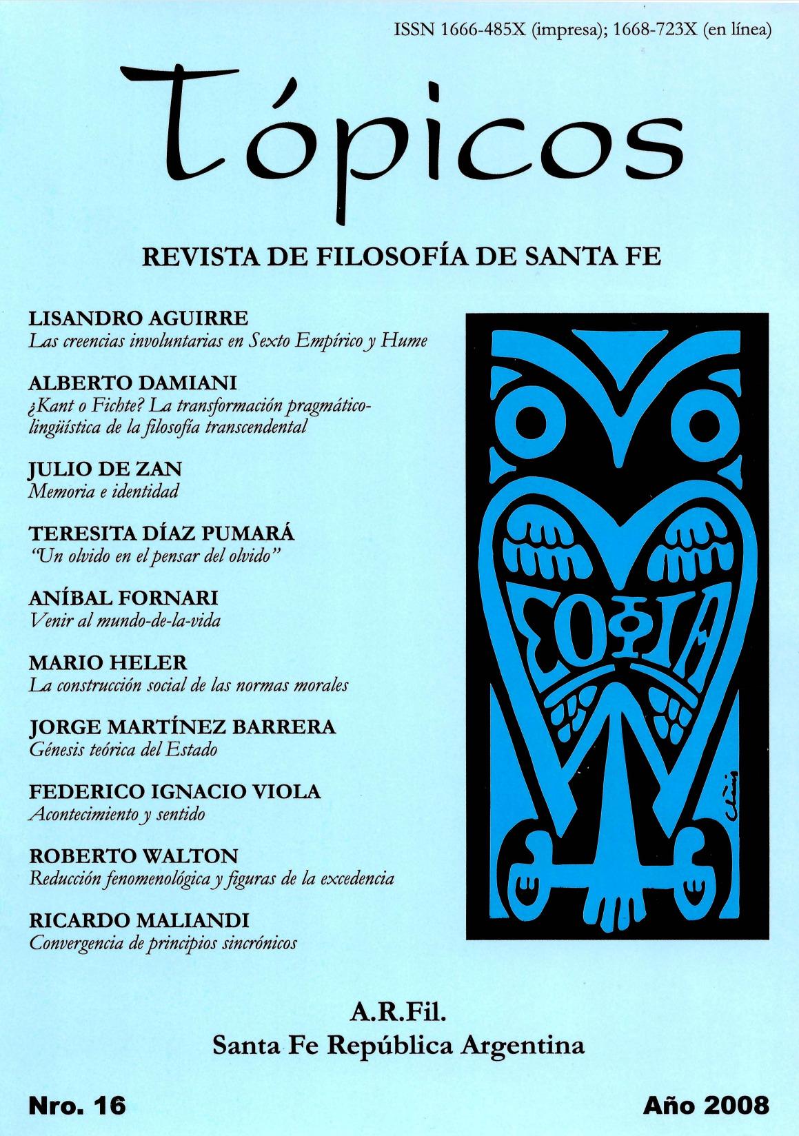 Imagen de tapa de Revista Tópicos Nº 16.